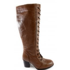 Mina Tan Leather Knee-High Boot