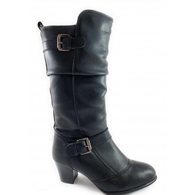 Lotus Miriam Black Leather Mid Calf Boot