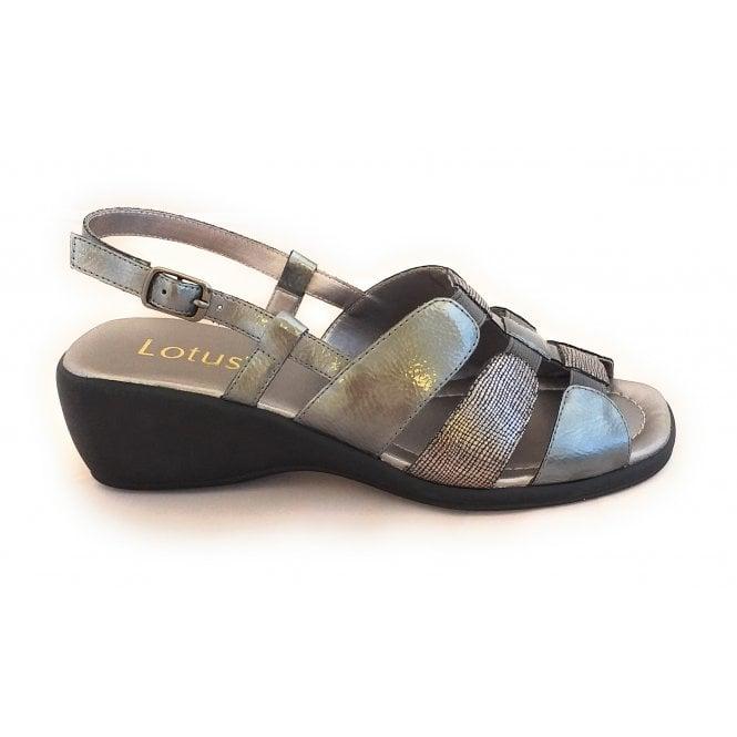 Lotus Mississipi Pewter Sling-Back Wedge Sandal