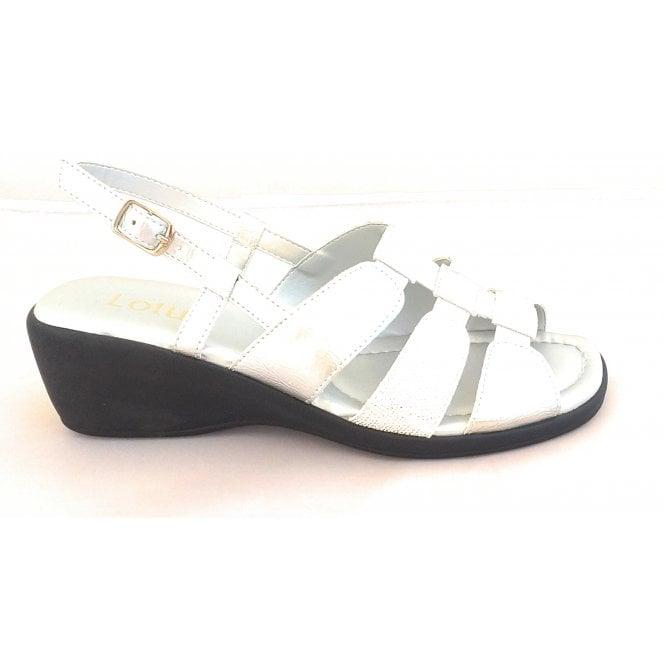 Lotus Mississipi Silver Sling-Back Wedge Sandal