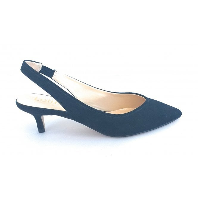 Lotus Misty Black Microfibre Sling-Back Court Shoe