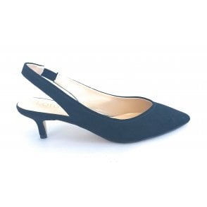 Misty Black Microfibre Sling-Back Court Shoe