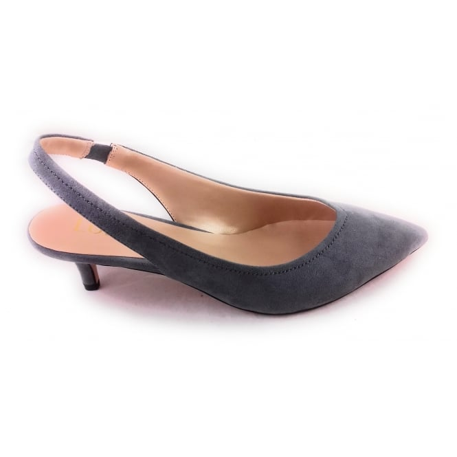 Lotus Misty Grey Microfibre Sling-Back Court Shoe