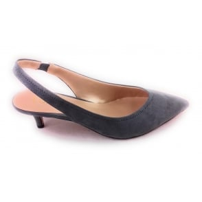 Misty Grey Microfibre Sling-Back Court Shoe