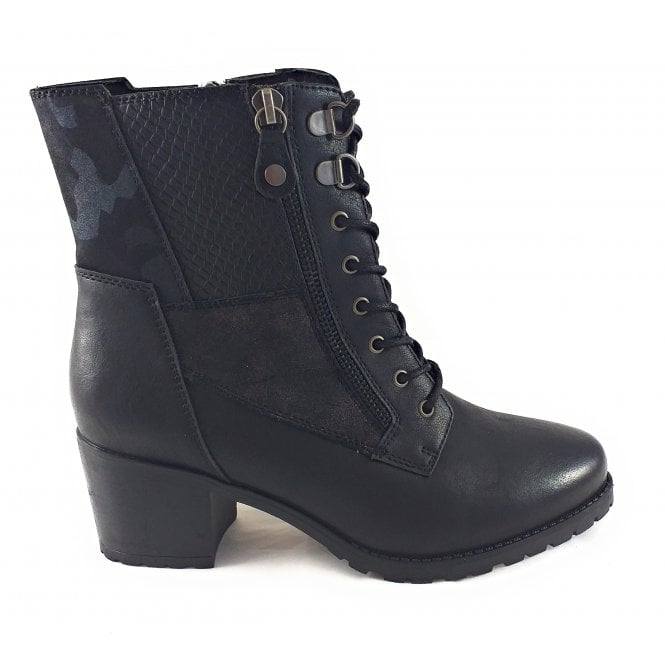 Lotus Nala Black Heeled Zip-Up Ankle Boot