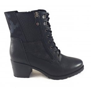 Nala Black Heeled Zip-Up Ankle Boot