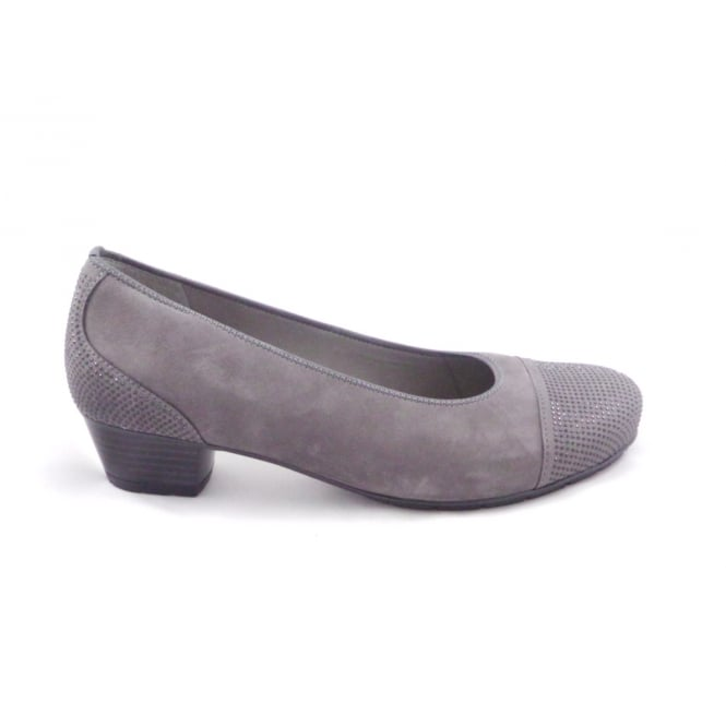 Ara Nancy 12-47612 Grey Nubuck Round Toe Court Shoe