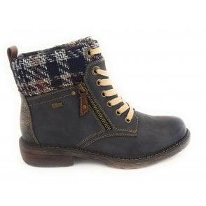 Nancy Navy Zip-Up Ankle Boot