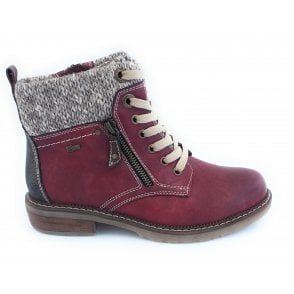 Nancy Red Zip-Up Ankle Boot