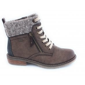 Nancy Taupe Zip-Up Ankle Boot