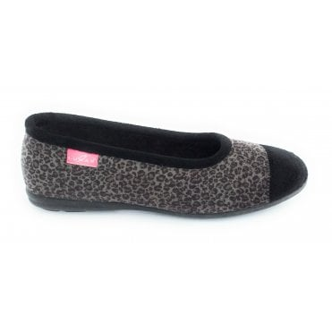 Natal Grey Animal Print Slipper