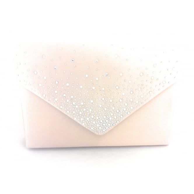 Lotus Natural Sateen and Diamante Clutch Bag