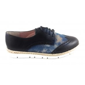 Navy and Blue Leather Lace-up Casual Shoe