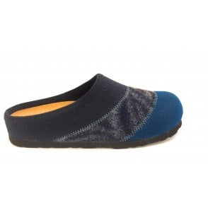 Navy Blue and Turquoise Mule Slippers