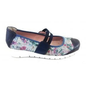 Navy Blue Leather Multi Casual Shoe