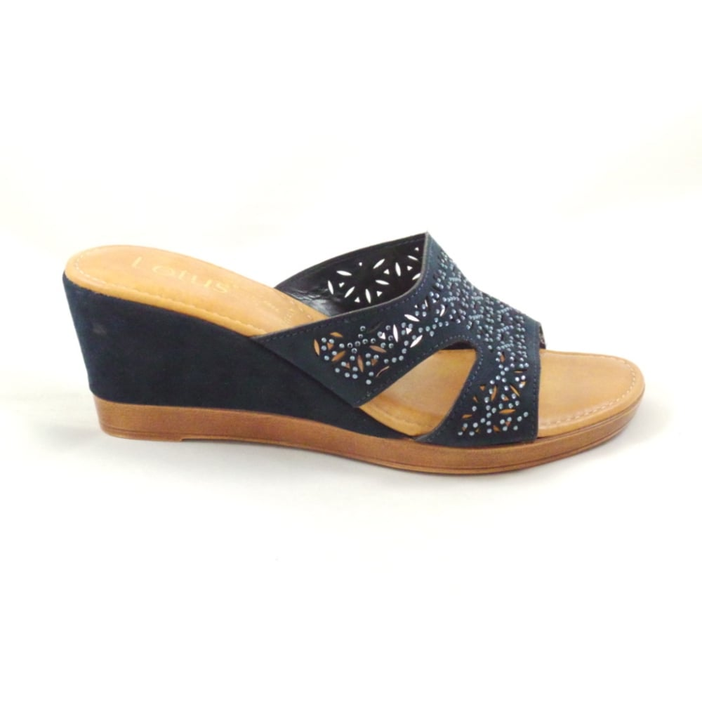 Navy Blue Open Toe Wedge Shoes