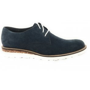 Navy Blue Suede Mens Lace-Up Casual Shoe