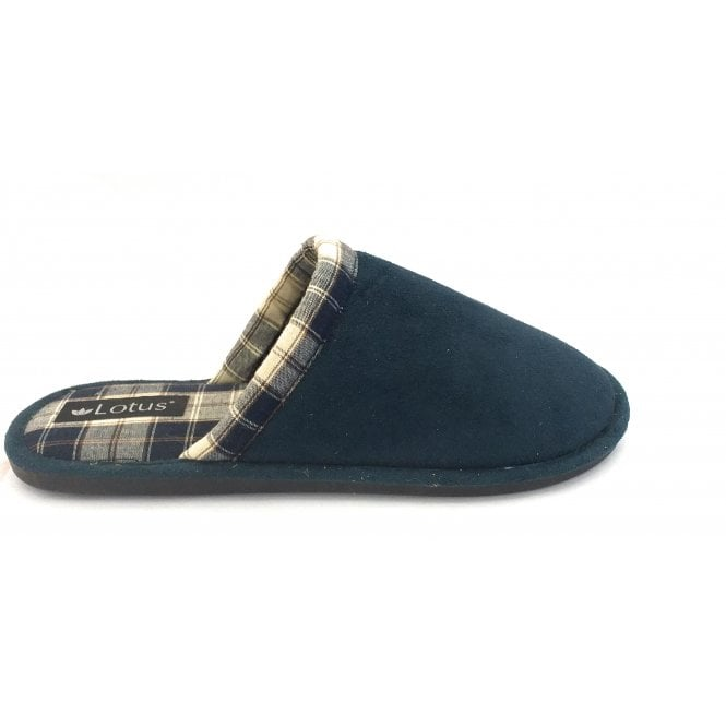 Lotus Navy Connolly Mens Mule Slippers
