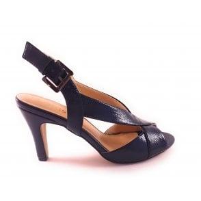 Navy Crinkle Patent Open-Toe Sling-Back Sandal