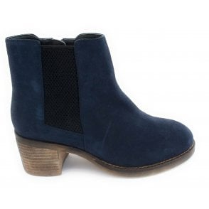 Navy Faux Suede Ankle Boot