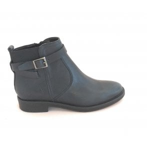 Navy Leather Ankle Boot