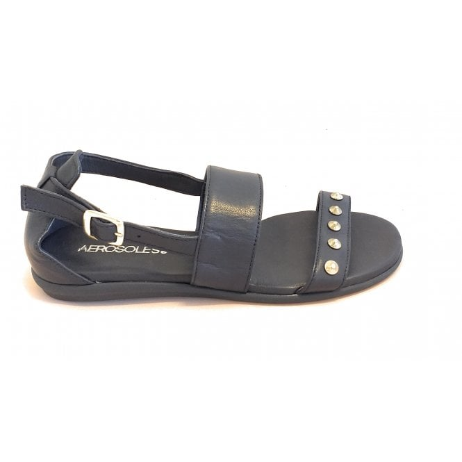 Aerosoles Navy Leather Flat Sandal