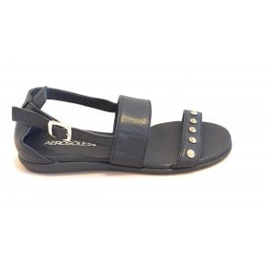 Navy Leather Flat Sandal