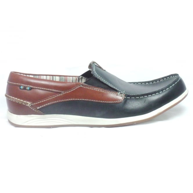 Lotus Navy Leather Mens Boat Shoe