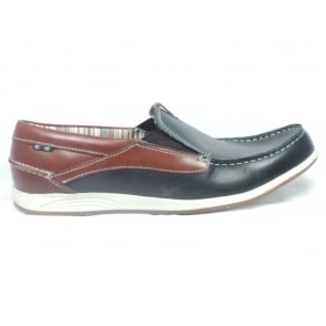 Navy Leather Mens Boat Shoe