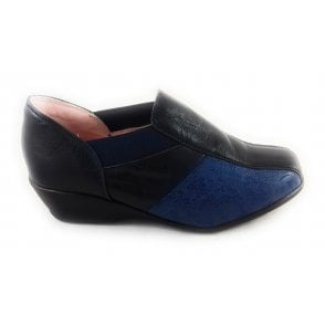 Navy Leather Slip On casual