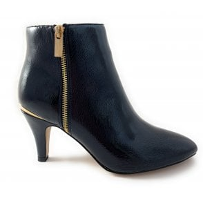 Navy Patent Ankle Boot