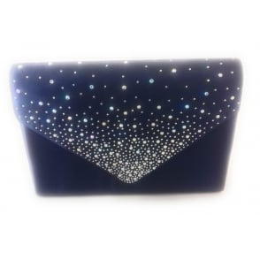 Lotus Navy Sateen and Diamante Clutch Bag