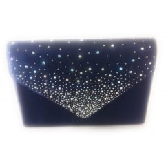 Navy Sateen and Diamante Clutch Bag