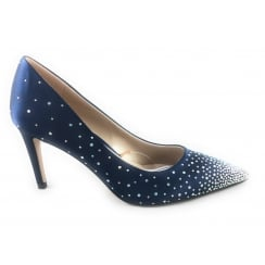Navy Sateen and Diamante Court Shoe