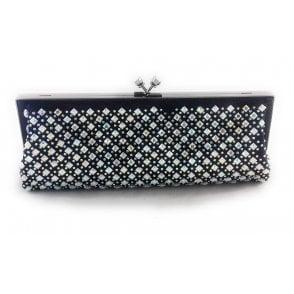 Navy Shimmer and Diamanté Clutch Bag