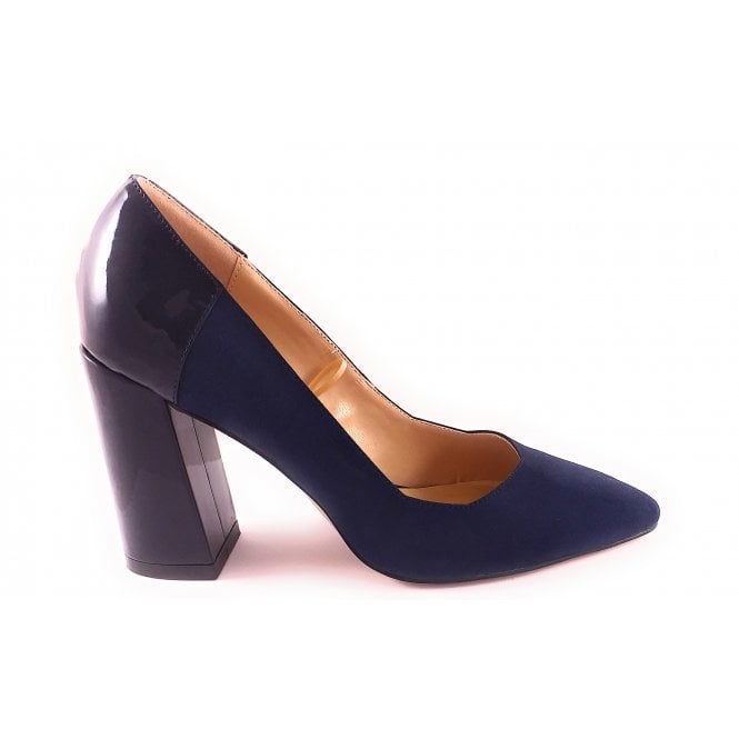 Lotus Navy Suede and Patent Court Shoe