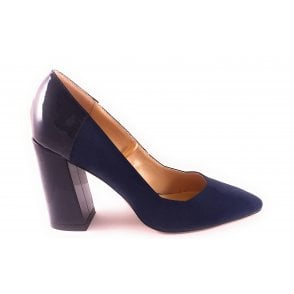 Navy Suede and Patent Court Shoe