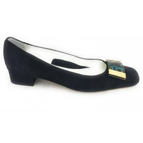 Navy Suede Court Shoe