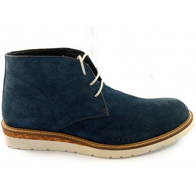 Rohde Navy Suede Lace-Up Casual Boot