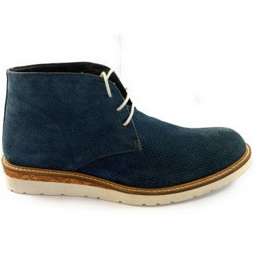 Navy Suede Lace-Up Casual Boot