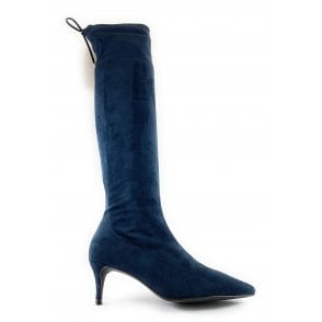 Navy Suede Over the Knee Boot