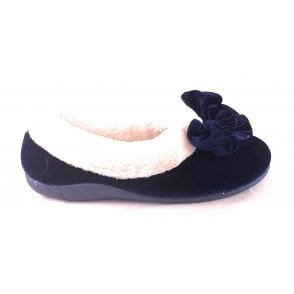 Navy Velour Slipper