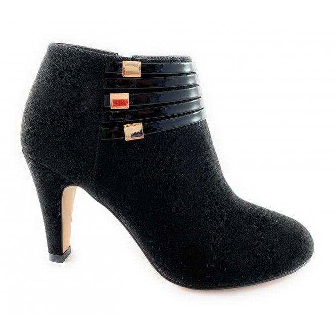 Lotus Nell Black Microfibre Shoe Boot