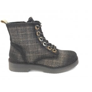 Neria Black Print Lace-Up Boots