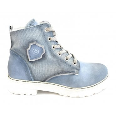 Neria Revo Light Blue Faux Leather and Canvas Boots