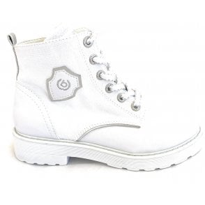 Neria Revo White Faux Leather and Canvas Boots