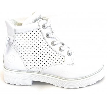 Nerio Revo 431-A2J31-5000 White Faux Leather Ankle Boots