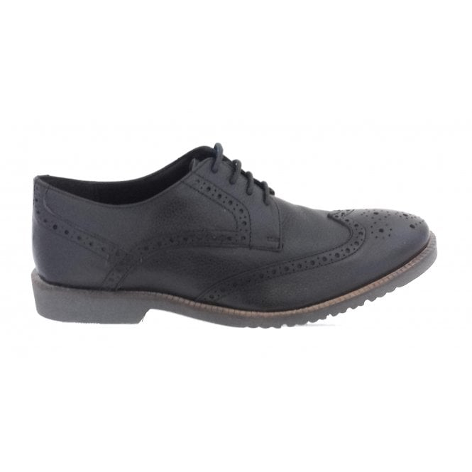 Lotus Newing Black Leather Lace-Up Brogue