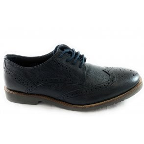 Newing Black Leather Lace-Up Brogue Shoe