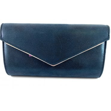 Nila Navy Metallic Clutch Bag